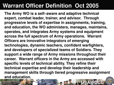 Officers Definition ppt heritage of the u s army warrant officer corps