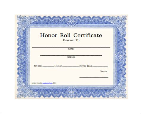 9 printable honor roll certificate templates free word