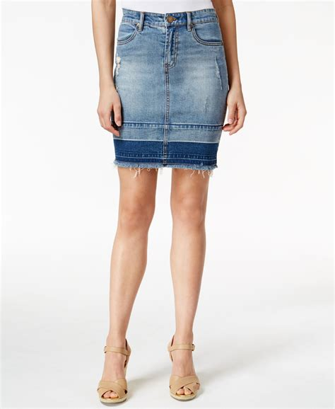 kut from the kloth distressed denim skirt in blue lyst