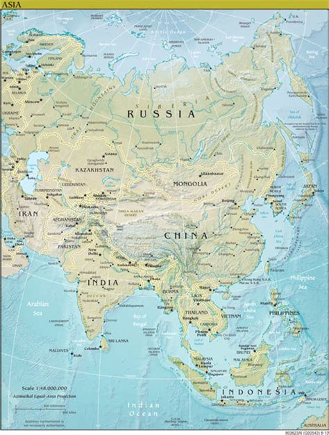 central asia physical map the world factbook