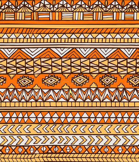 tribal line pattern hand drawn orange abstract aztec maya geometric seamless