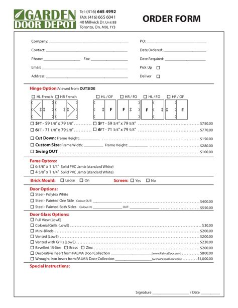 French Doors Size - garden door depot order form with pricing