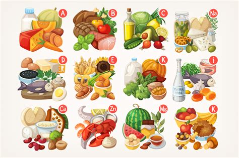vitamin f vegetables products rich with various vitamins illustrations on
