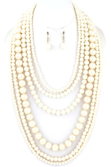 Pearl Layered Necklace multi layered pearl necklace set necklaces