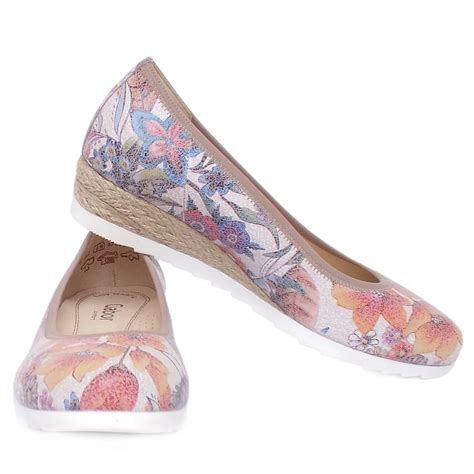shoes for flower gabor epworth s floral print wide fit low wedge