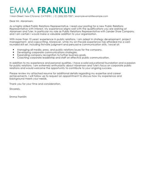 Resume Format Event Management Jobs by Best Public Relations Cover Letter Examples Livecareer