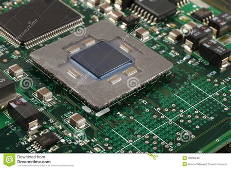 intergrated circuit on computer computer microprocessor closeup stock photo image 30090040