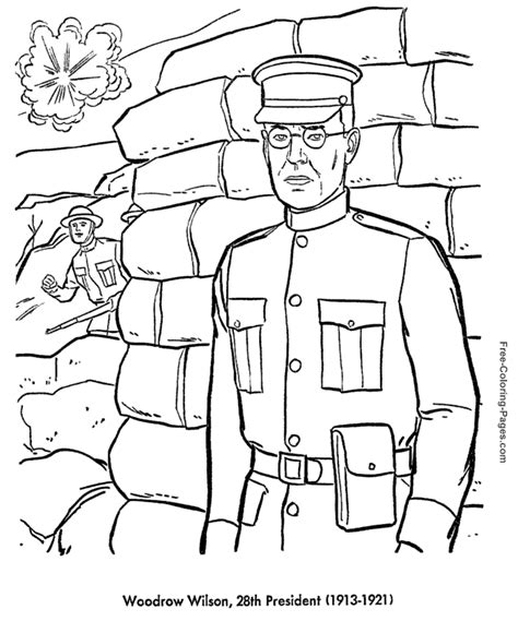 printable coloring pages us presidents president s day woodrow wilson