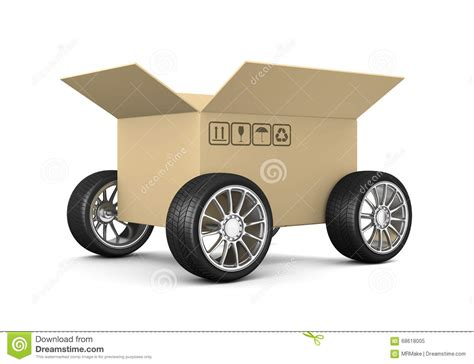 Wheels Box cardboard box on wheels stock illustration image of