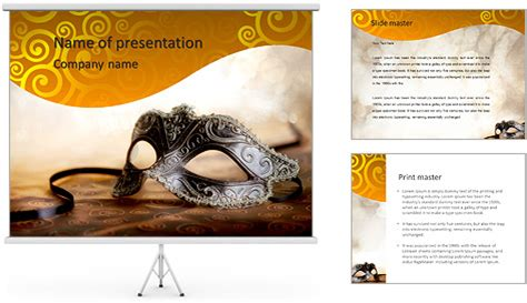 powerpoint themes carnival female carnival mask with glittering background powerpoint