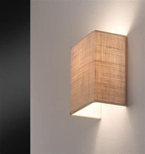 granfo illuminazione applique con paralume tessuto iuta rettangolare altea