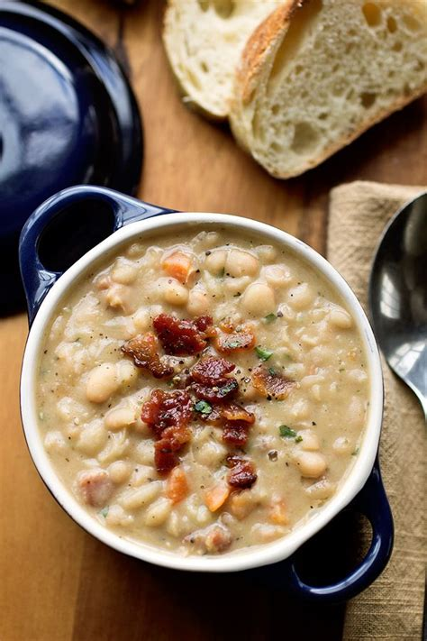 Bacon Main Dishes - creamy white bean stew with smoky bacon from a cozy apron 187 delicious food