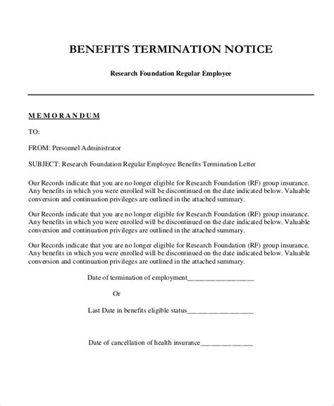 health insurance cancellation letter to employee sle employee termination letter 8 exles in word pdf