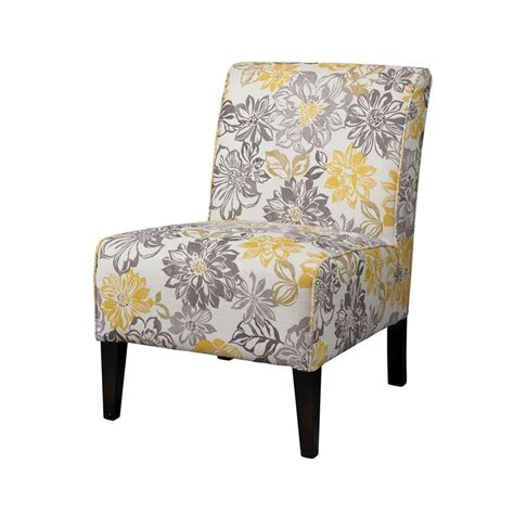 linon home decor gray yellow polyester side chair