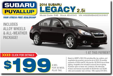 new 2015 subaru vehicle special offers puyallup near