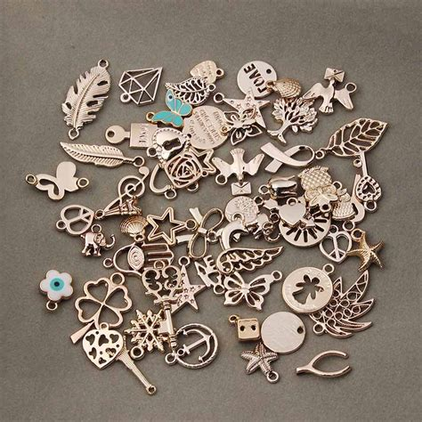 charms for jewelry 50pcs lot mixed gold plated metal floating charms