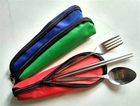 Alat Makan Set set alat makan portable 3 pcs stainless steel