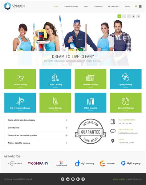 theme joomla intranet cleaning company multipurpose services joomla te by