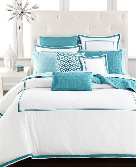 the hotel collection bedding hotel collection aqua embroidered frame bedding collection everything turquoise