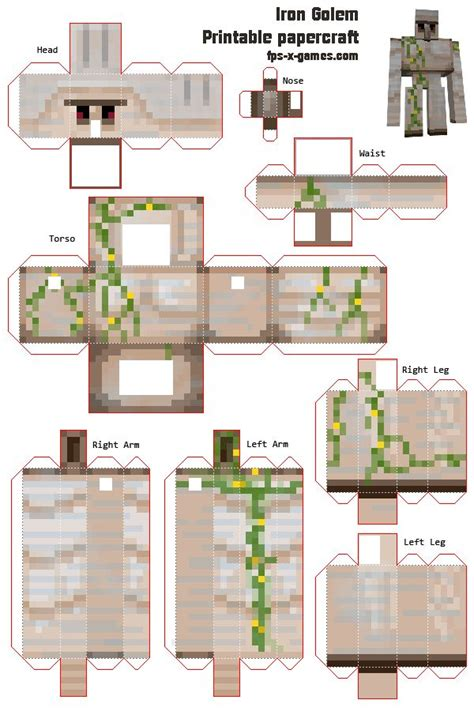 Print Out Minecraft Papercraft - minecraft printables your own iron golem minecraft