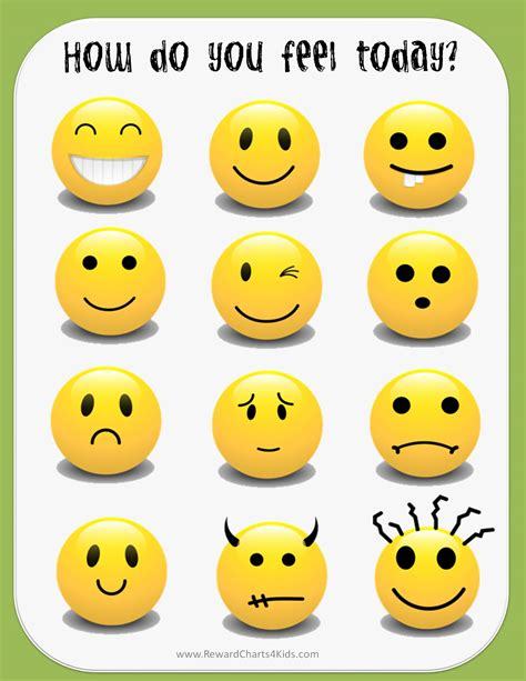 printable emotion faces chart feelings chart
