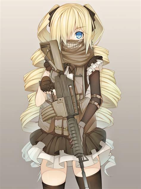 blonde anime schoolgirl warrior blonde anime girl with gun anime girl