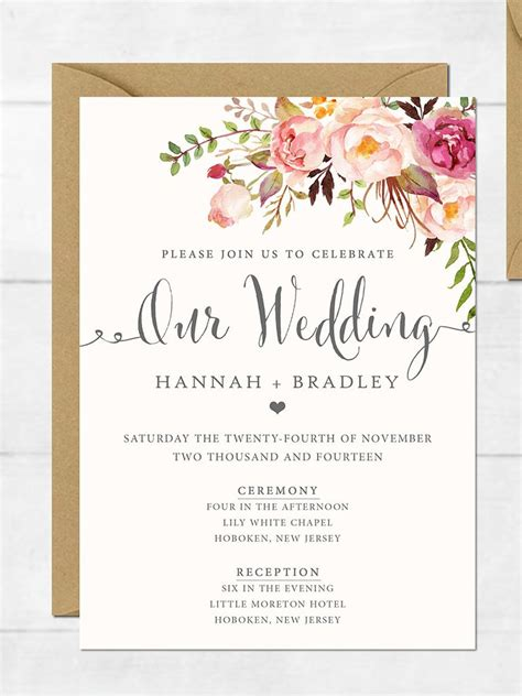 Printable Wedding Invitation Templates 16 printable wedding invitation templates you can diy
