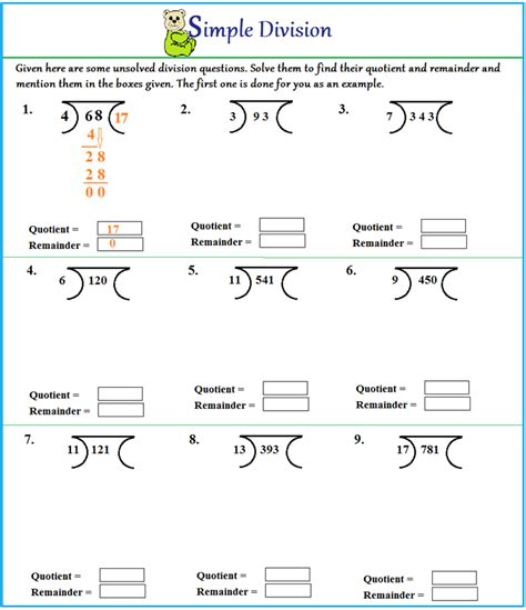 Division Step By Step Worksheet by Worksheet On Division Without Remainder