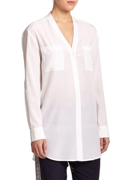 White Silk Blouse V Neck by Lyst Dkny Silk V Neck Blouse In White