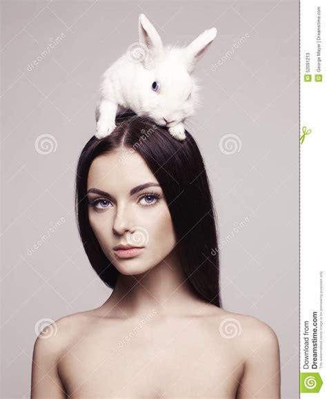 beautiful lady beautiful woman with rabbit stock photo image 52091213