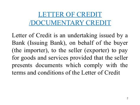 Advance Against Letter Of Credit Letter Of Credit