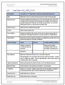 it use template business requirements specification use table