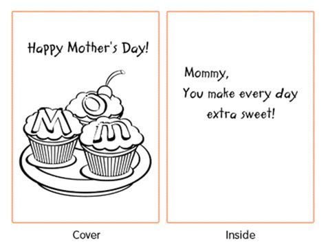preschool mothers day card template free coloring pages