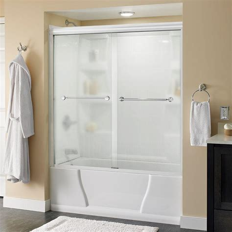 Delta Shower Door Delta Classic 400 Curve 60 In X 62 In Frameless Sliding Tub Door In Stainless B55910 6030 Ss