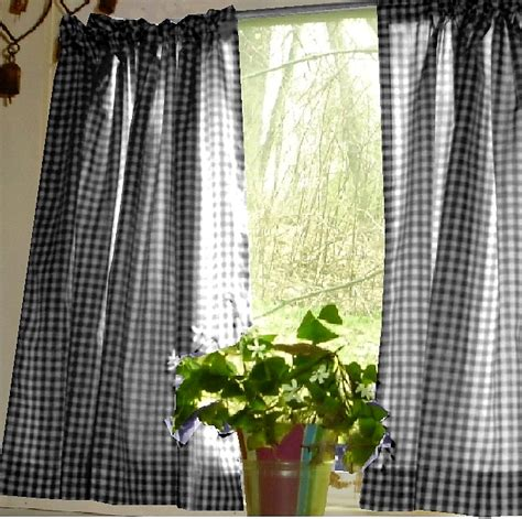 Black gingham kitchen caf 233 curtain unlined or with white or blackout lining in many custom lengths
