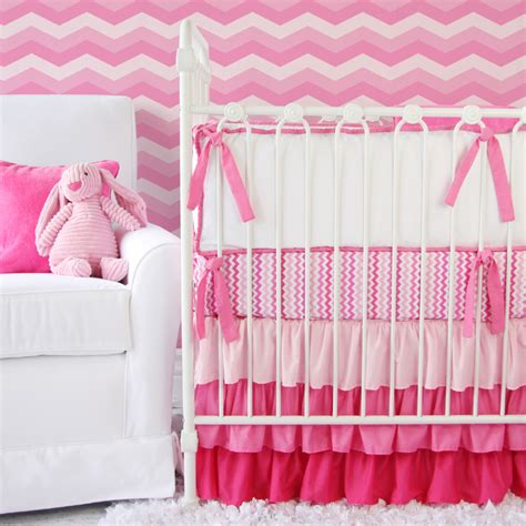 Girly Bedding Sets Girly Zig Zag Ruffle Crib Bedding Set By Caden Lane