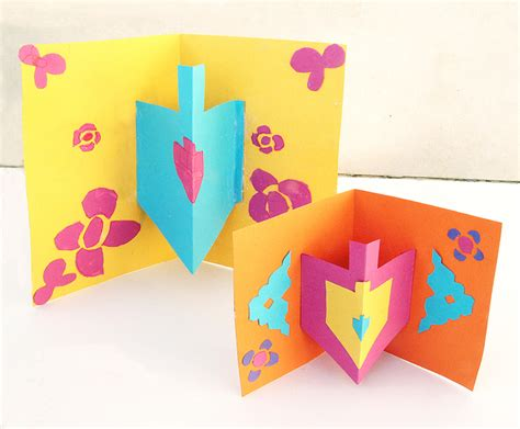 Hanukkah Card Craft With 3d Dreidel Creative Jewish Mom 3d Dreidel Template