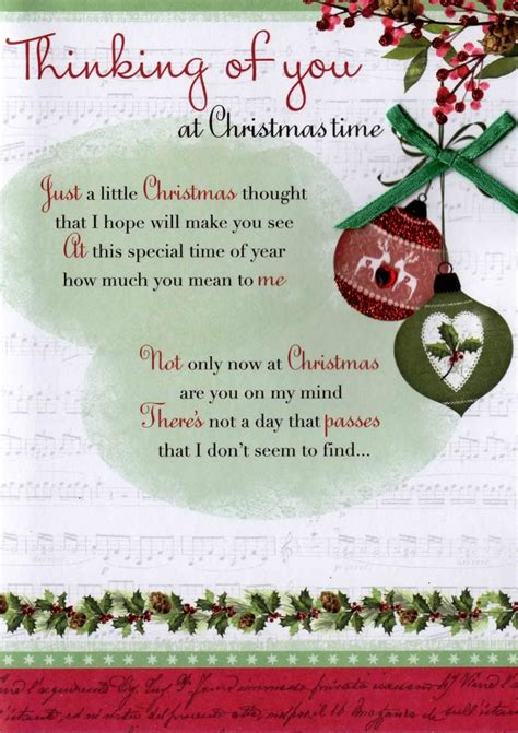 thinking    christmas time greeting card traditional cards lovely verse ebay