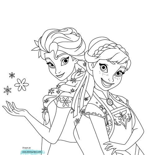 coloring pages elsa and anna anna and elsa in frozen fever coloring page frozen fever