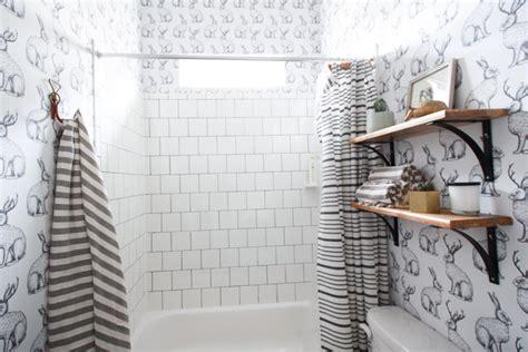 can i wallpaper a bathroom jackalope wallpaper bathroom diy smooth textured walls