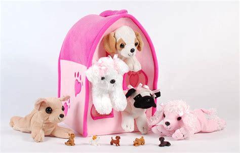 plush dog house unipak plush pink dog house carrying case with five stuffed animal dogs ebay