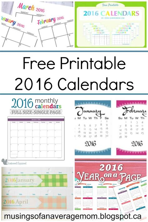 2016 Calendar Printable Free Musings Of An Average Free Printable 2016 Calendar