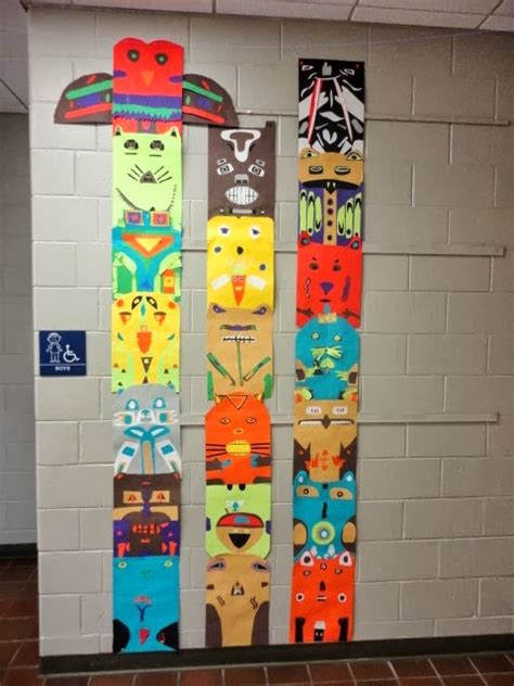 totem pole craft project elementary 4th grade totem pole collage