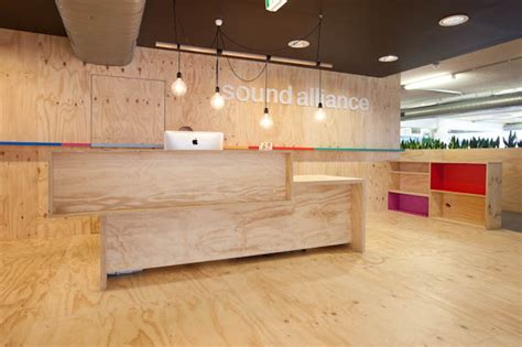 Plywood Reception Desk Modern Wooden And Colorful The Offices Of Sound Alliance Office Snapshots