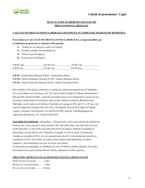 calculo de liquidaci 243 n y prestaciones laborales en excel manual de calculo de prestaciones basado en el codigo de
