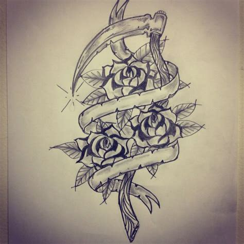banner tattoos traditional sickle roses banner sketch by