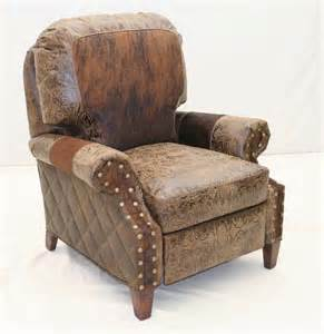 cowhide trim western recliner hickory tannery