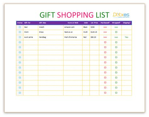 shopping template gift shopping list template