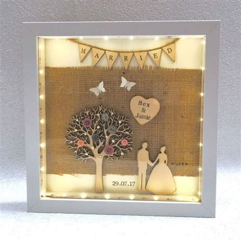 Wedding Box Frame Gifts by Light Up Just Married Box Frame Wedding Gift