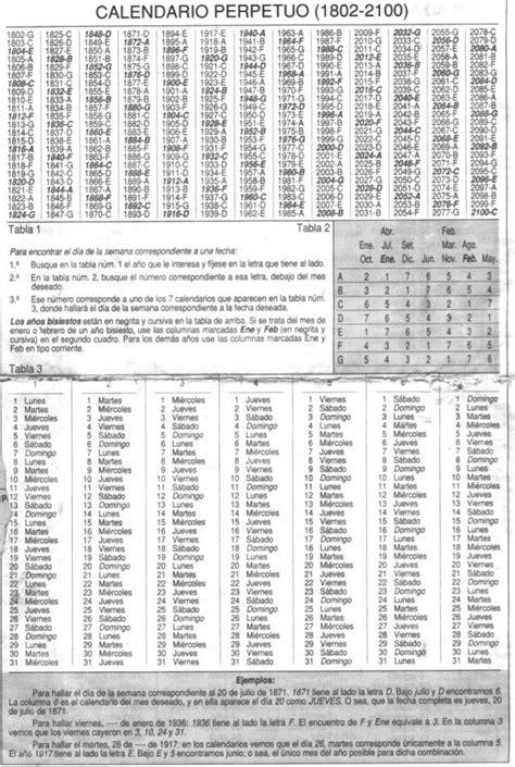 almanaque o calendario perpetuo cambridge house valencia spain